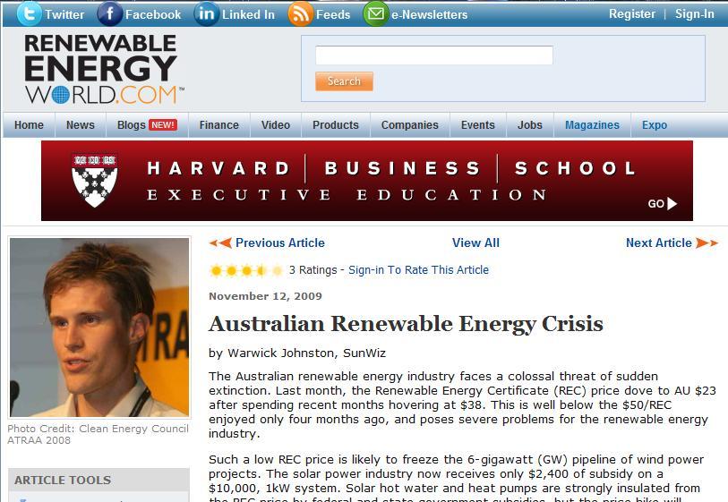 Renewable Energy World Article